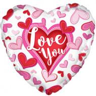 Воздушный шар (18''/46 см) Сердце, Я люблю тебя (сердечки), Белый, 1 шт.